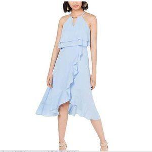 Kensie Sleeveless Halter Ruffled Popover Dress
